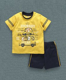 Zero Half Sleeves T-Shirt And Shorts Taxi & City Bus Print -  Yellow
