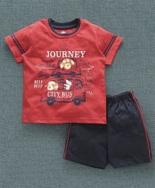 Zero Half Sleeves T-Shirt And Shorts Taxi & City Bus Print -  Red