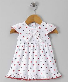 Child World Cap Sleeves Heart Printed Frock Bow Applique - White