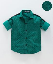 Knotty Kids Overall Print Shirt With Contrast Lining On Sleeves - Green