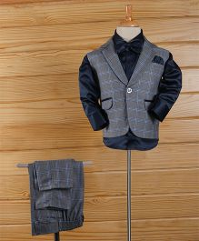 Rikidoos Checks 3 Piece Suit With Double Bow - Gray