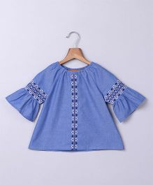 Beebay Chambray Embroidered 3/4th Sleeve Top - Blue