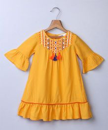 Beebay Embroidered & Bell Sleeves Dress - Yellow