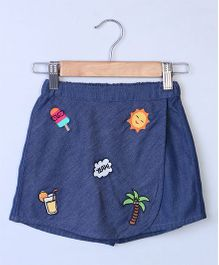 Beebay Funky Badge Applique Chambray Skirt - Blue