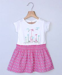 Beebay Giraffe Embroidered Dress - Pink