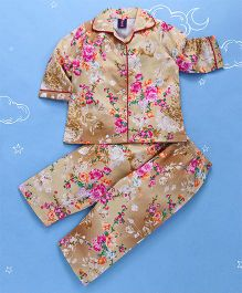 Enfance Core Floral Print Night Suit - Fawn