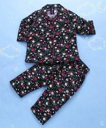 Enfance Core Floral Print Full Sleeves Night Suit - Navy