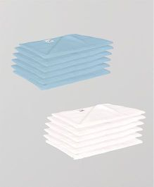 Lula Reusable Muslin Square Napkins Pack of 12 - Blue White