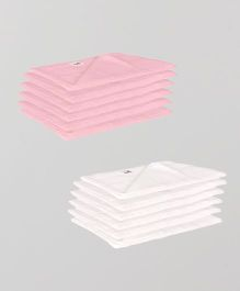Lula Reusable Muslin Square Napkins Pack of 12 - Pink White