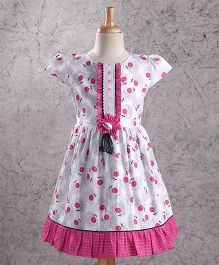 Enfance Core Cherry Print Casual Dress - Pink