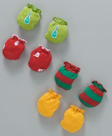 Ben Benny Mittens Pack of 4 Pairs - Red Green Yellow