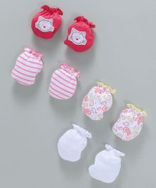 Ben Benny Mittens Pack of 4 Pairs - Pink White