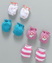 Ben Benny Mittens Pack of 4 Pairs - Blue Pink White