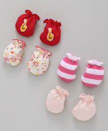 Ben Benny Mittens Pack of 4 Pairs - Red Pink Cream