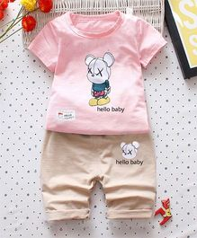 Hopsy Teddy Printed Tee & Shorts - Pink & Peach