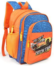 Hot Wheels Theme School Bag Orange Blue - Height 14 inches