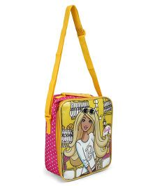 Barbie Lunch Case Bag Girl Print Yellow Pink - Height 10.2 inches