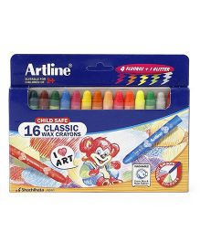 Artline Classic Wax Crayons Pack of 16 - Multi Colour