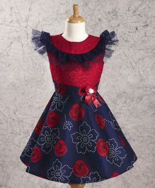 Enfance Core Frill Neck Floral Print Frock - Red