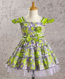 Enfance Core Cap Sleeve Floral Print Frock - Green