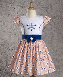 Enfance Core Print & Embroidery Combination Frock - Peach