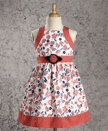 Enfance Core Floral Print Sleeveless Frock - Maroon