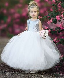 Flower Girl Netted Party Wear Gown With Back Bow - White