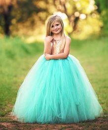 Flower Girl Netted Party Wear Dress - Sea Green