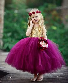 Flower Girl Netted Dress With Back Bow - Burgundy