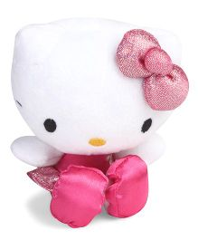 Hello Kitty Plush Toy With Glittery Frock & Bow Pink - Height 15 cm