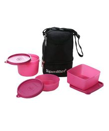 Signoraware Trio Lunch Boxes With Insulated Bag (Assorted Colors)