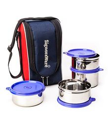 Signoraware Stainless Steel Lunch Box Set of 4 With Insulated Bag (Assorted Colours)
