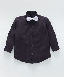 Knotty Kids Full Sleeves Shirt With Bow Tie - Purple