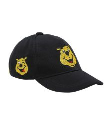 Imagica Emoji Embroidered Kids Cap - Black