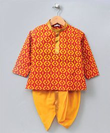 Bownbee Little Kiddo Sanganeri Dhoti Kurta - Yellow