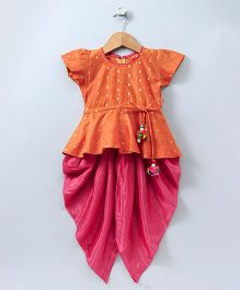 Bownbee Stylish Diva Dhoti Peplum Top - Orange & Pink