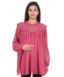 9teen Again Dotted Georgette & Chinese Net Maternity Top - Pink