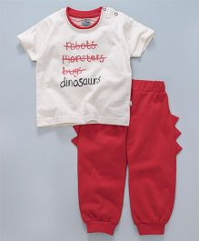 Mini Taurus Half Sleeves T-Shirt & Lounge Pant Dino Print - Cream Red