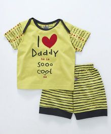 Mini Taurus Half Sleeves T-Shirt & Shorts I Love Daddy Print - Green
