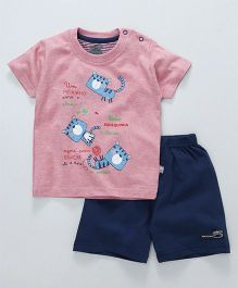 Mini Taurus Half Sleeves T-Shirt & Shorts Animal Print - Pink