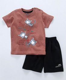 Mini Taurus Half Sleeves T-Shirt & Shorts Animal Print - Dark Peach
