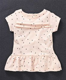Simply Short Sleeves Frock Star Print - Light Peach