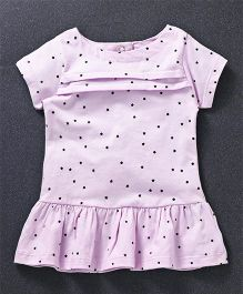 Simply Short Sleeves Frock Star Print - Light Purple
