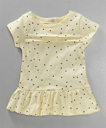 Simply Short Sleeves Frock Star Print - Light Yellow