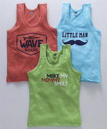 Simply Sleeveless Vests Text Print Pack of 3 - Blue Green Pink