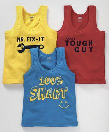Simply Sleeveless Vests Text Print Pack of 3 - Yellow Blue Maroon