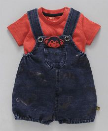 Wow Clothes Denim Dungaree With T-Shirt Monkey Applique - Blue Coral