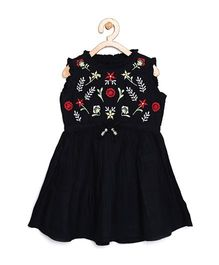 Bella Moda Floral Embroidered Frill Neck Sleeveless Dress - Black