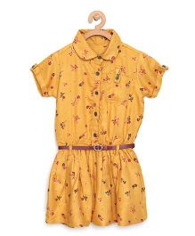 Bella Moda Floral Printed Collared Dress With Belt - Yellow