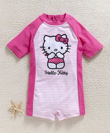Fox Baby Half Sleeves Legged Swimsuit Hello Kitty Print - Pink